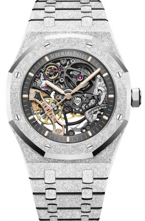 AAA Replica Audemars Piguet Royal Oak Frosted Gold Double Balance Wheel Openworked Watch 15407BC.GG.1224BC.01