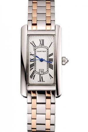 Cartier Tank Americaine 21mm White Dial Stainless Steel Case Two Tone Bracelet