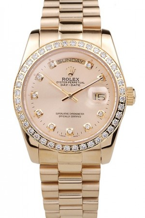 Rolex Day-Date 18k Yellow Gold Plated Stainless Steel Gold Dial