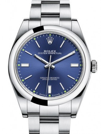 AAA Replica Rolex Oyster Perpetual 39mm Blue Dial Mens Watch 114300-0003