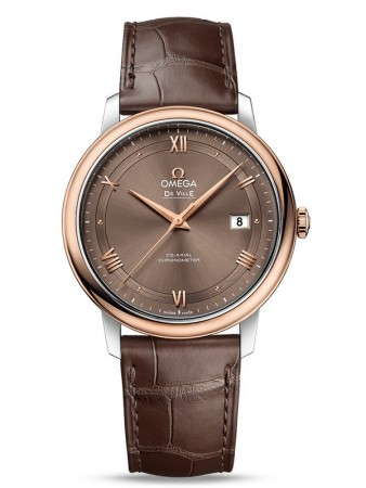 AAA Replica Omega De Ville Prestige Co-Axial 39.5 mm Steel And Red Gold Brown Dial Watch 424.23.40.20.13.001