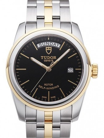 AAA Replica Tudor Glamour Date Day Black Dial Leather Strap Mens Watch 56003