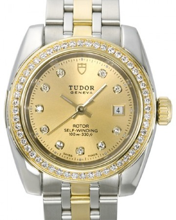 AAA Replica Tudor Classic Date Champagne Dial Yellow Gold Strap Ladies Watch 22023-1