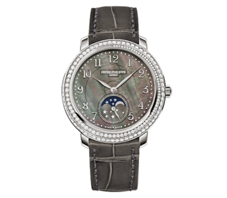 AAA Replica Patek Philippe Moonphase White Gold Black Mother of Pearl Watch 4968G-001