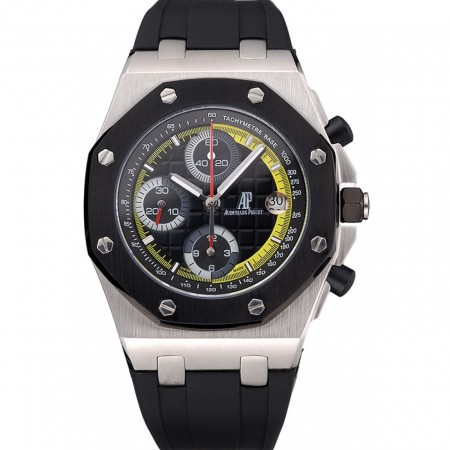 Swiss Audemars Piguet Royal Oak Offshore Black And Yellow Dial Stainless Steel Case Black Rubber Strap 622855