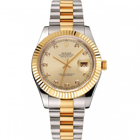 Swiss Rolex Datejust Gold Dial And Bezel Stainless Steel Case Two Tone Bracelet