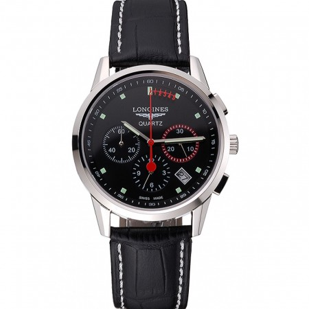 Longines Column Wheel Black Dial Silver Stainless Steel Case Black Leather Strap