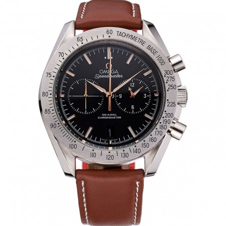 Omega Speedmaster Black Dial Stainless Steel Case Brown Leather Strap 622806