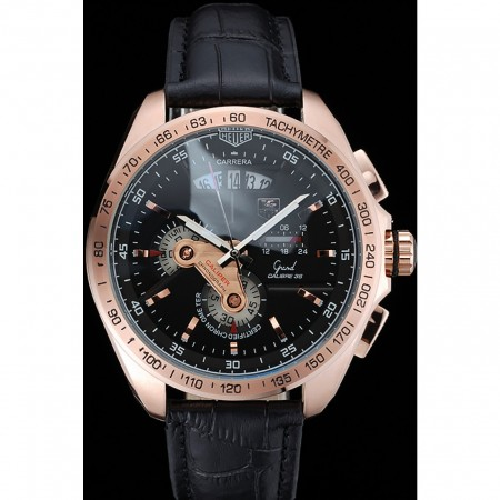 Tag Heuer Carrera Rose Gold Bezel with Black Dial and Black Leather Strap 621538