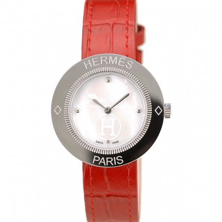 Hermes Classic MOP Dial Red Leather Strap