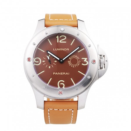 Panerai Luminor Brushed Stainless Steel Case Brown Dial Brown Leather Strap