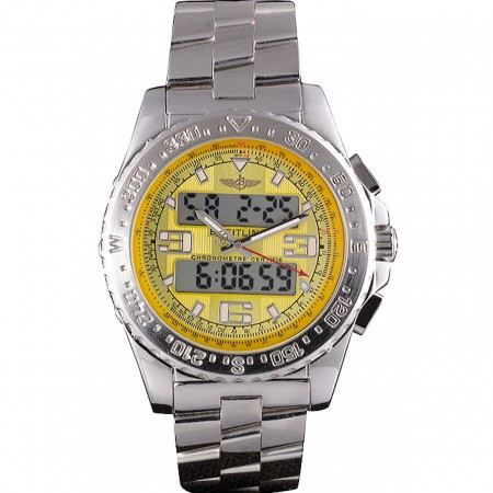 Breitling Certifie Yellow Dial Stainless Steel Strap Rose Gold Bezel