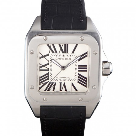 Swiss Cartier Santos Stainless Steel Bezel with Black Leather Strap 621524
