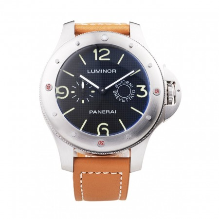 Panerai Luminor Brushed Stainless Steel Case Blue Dial Brown Leather Strap