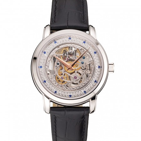 Swiss Piaget Altiplano Skeleton Dial With Diamonds Stainless Steel Case Black Leather Strap