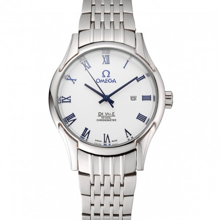 Omega De Ville White Dial Blue Numerals Stainless Steel Case And Bracelet 1453787