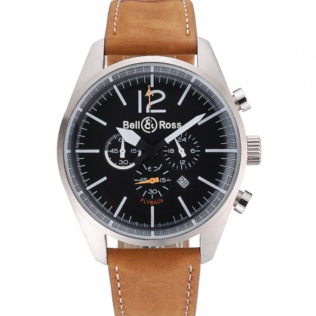 Bell and Ross BR126 Flyback Black Dial Silver Case Brown Suede Leather Strap