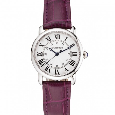 Cartier Ronde White Dial Stainless Steel Case Purple Leather Strap