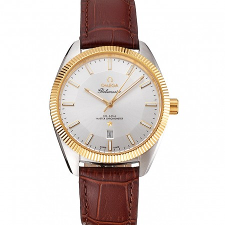 Omega Globemaster Silver Dial Gold Bezel Stainless Steel Case Brown Leather Strap
