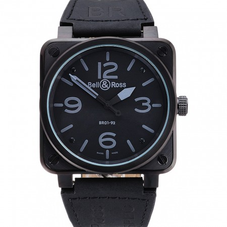 Bell and Ross BR 01-92 Black Dial Black Case Black Leather Strap