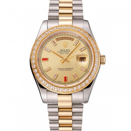 Swiss Rolex Day-Date Diamonds And Rubies Champagne Dial Two Tone Bracelet 1454104