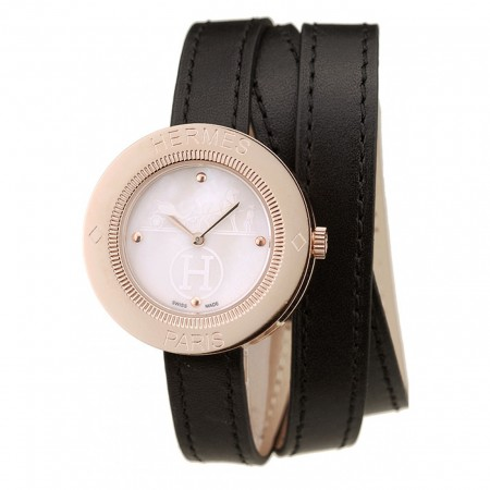 Hermes Classic MOP Dial Black Elongated Leather Strap