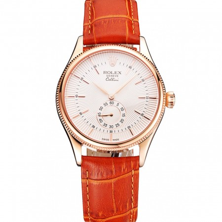 Swiss Rolex Cellini White Dial Rose Gold Case Light Brown Leather Strap