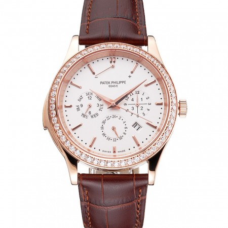Swiss Patek Philippe Grand Complications Perpetual Calendar White Dial Rose Gold Case Diamond Bezel Brown Leather Strap