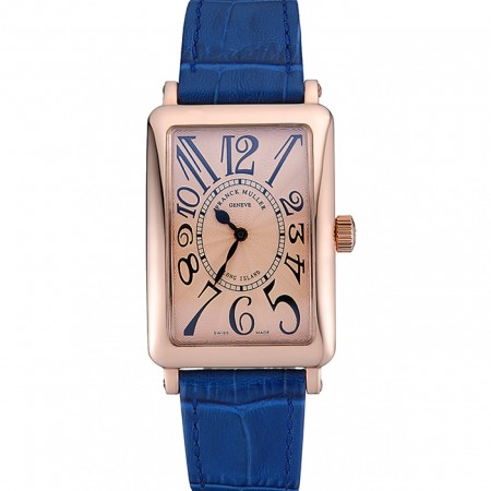 Franck Muller Long Island Classic Gold Dial Gold Case Blue Leather Band 622367