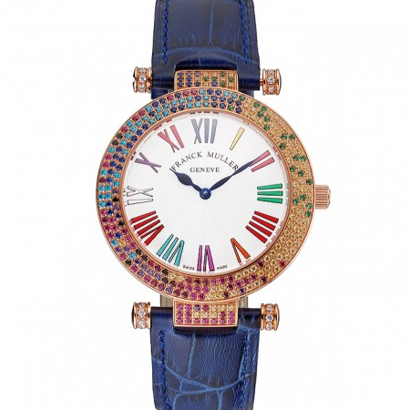 Franck Muller Double Mistery 4 Saisons White Dial Rose Gold Case Blue Leather Strap