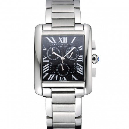 Cartier Tank MC Black Dial Stainless Steel Case And Bracelet 622698