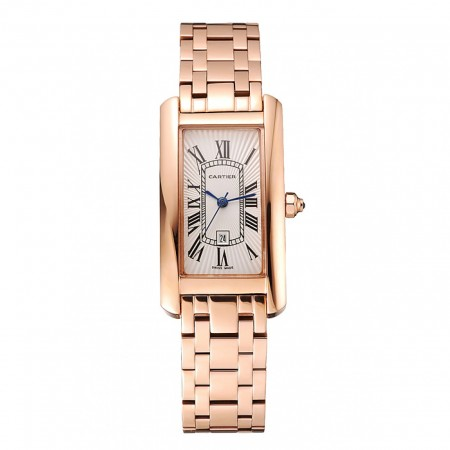 Cartier Tank Americaine White Dial Rose Gold Case And Bracelet 1453780