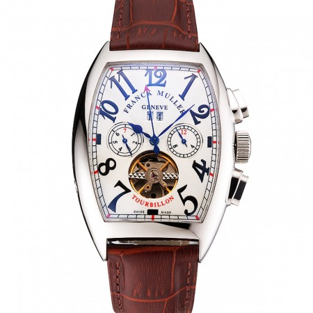 Franck Muller Casablanca White Dial Red Accent Number Tourbillon 41958
