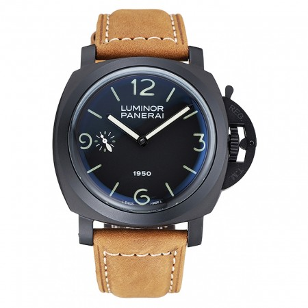 Panerai Luminor Black Ionized Stainless Steel Case Black Dial Brown Suede Leather Strap