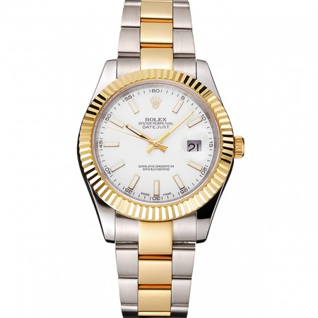 Swiss Rolex Datejust White Dial Stainless Steel Case Two Tone Gold Bracelet