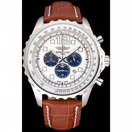 Breitling Navitimer Brown Leather Strap White Dial