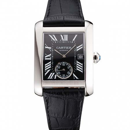 Swiss Cartier Tank MC Black Dial Stainless Steel Case Black Leather Strap