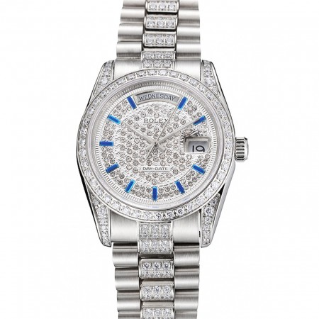 Swiss Rolex Day Date Diamond Pave Dial And Bezel And Stainless Steel Bracelet