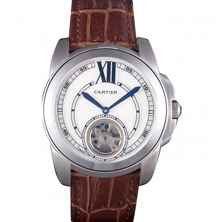 Cartier Calibre Flying Tourbillon White Dial Stainless Steel Case Brown Leather Bracelet