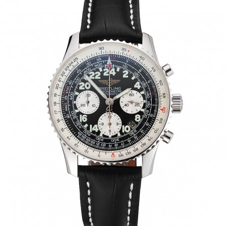 Swiss Breitling Navitimer Cosmonaute Black Dial Stainless Steel Case Black Leather Strap