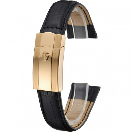 Rolex Black Leather with Gold Clasp Bracelet 622496