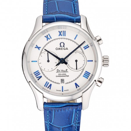 Omega DeVille Silver Bezel with White Dial and Blue Leather Strap 621568
