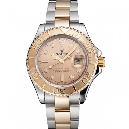 Swiss Rolex Yacht-Master Champagne Dial Gold Bezel Stainless Steel Case Two Tone Bracelet