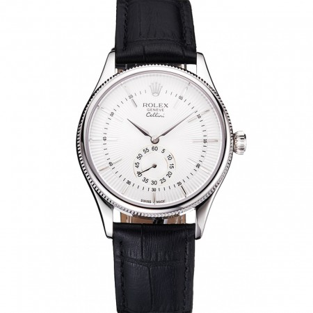 Swiss Rolex Cellini White Dial Stainless Steel Case Black Leather Strap