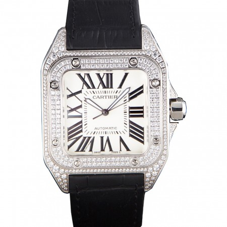 Swiss Cartier Santos Silver Bezel with Diamonds and Black Leather Strap sct47 621531