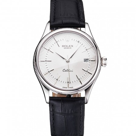 Swiss Rolex Cellini Date White Dial Stainless Steel Case Black Leather Strap