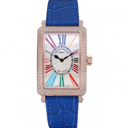 Franck Muller Long Island Classic White Dial Diamonds Case Blue Leather Band 622376