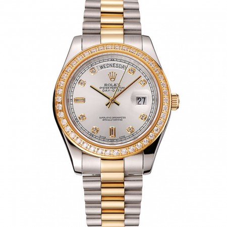 Swiss Rolex Day-Date White Dial Gold Diamond Case Two Tone Stainless Steel Bracelet 1453972