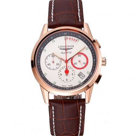 Longines Column Wheel White Dial Gold Case Brown Leather Strap