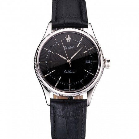 Swiss Rolex Cellini Date Black Dial Stainless Steel Case Black Leather Strap